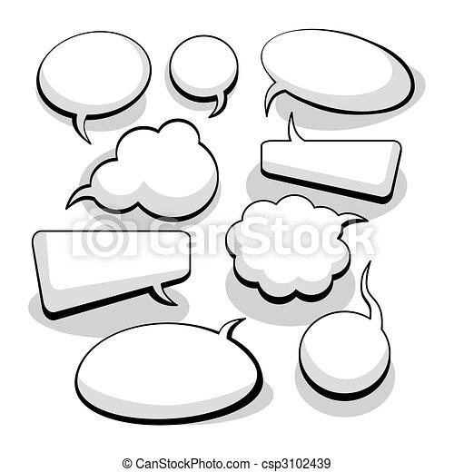 tanke, tale, bobler, (vector) - csp3102439