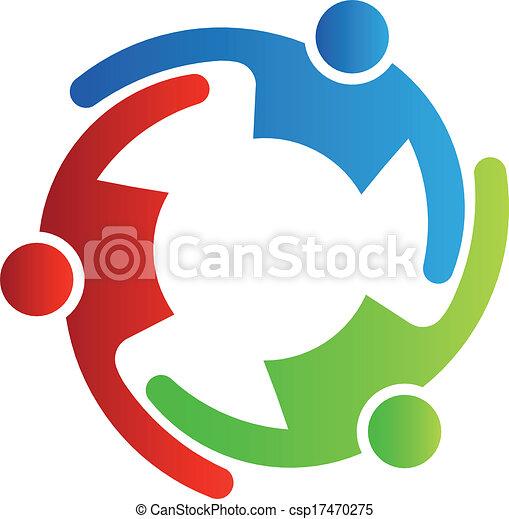 teamwork, 3, vektor, omfavnelse - csp17470275