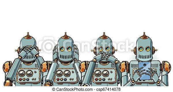 telefon, concept., afsondre, hang, robot, hvid baggrund, internet - csp67414078