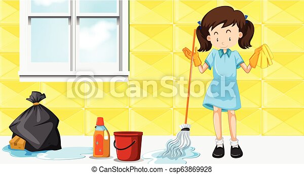 tjenestepige, rensning hus - csp63869928