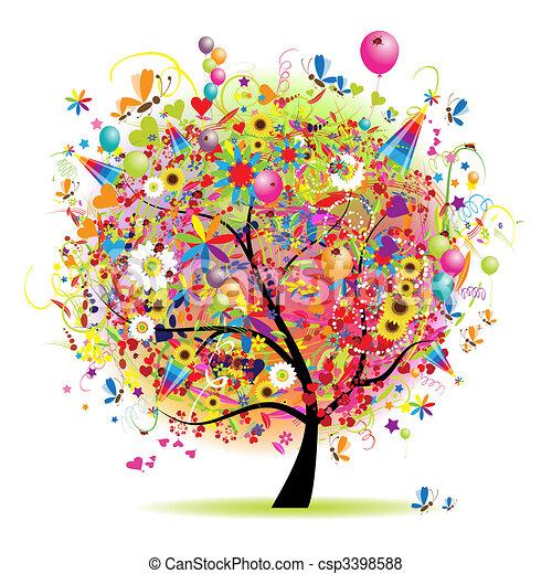 træ, glade, ferie, morsom, balloner - csp3398588