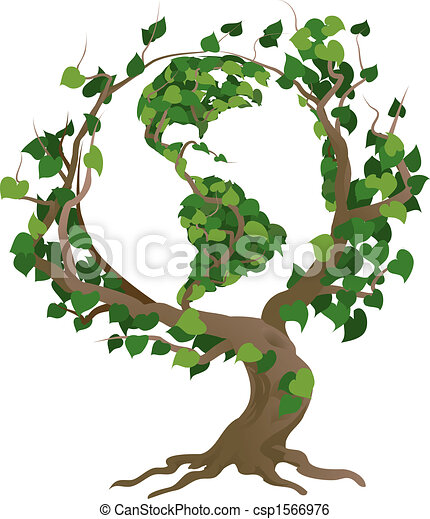 træ, illustration, vektor, verden, grønne - csp1566976