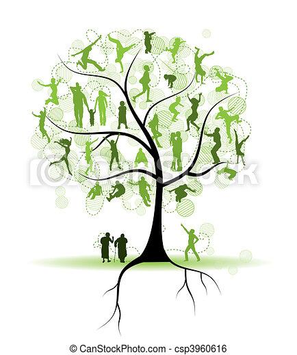 træ, silhuetter, slægtningene, familie, folk - csp3960616