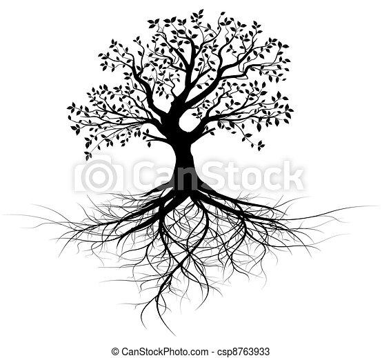 træ, vektor, hel, røder, sort - csp8763933