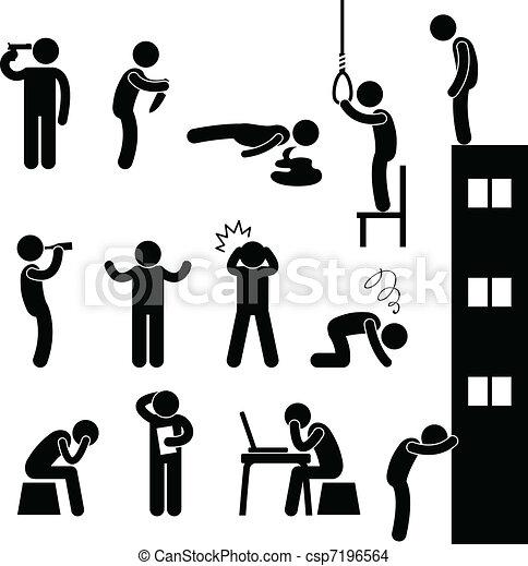 træde på, selvmord, folk, sørgelige, dræb, mand - csp7196564