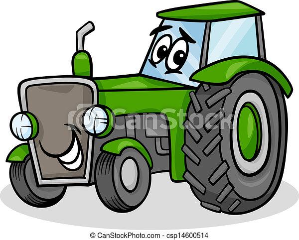traktor, karakter, cartoon, illustration - csp14600514