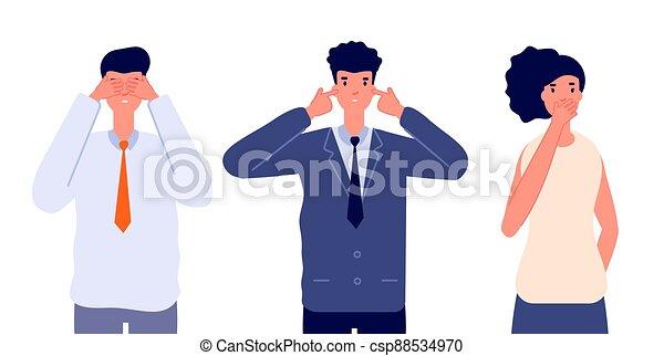 tre, klog, tilsidesæt, eller, vektor, undgå, nej, evil., firma, characters., følelsesmæssige, bogstaverne, folk, tal, onde, afhøre, person, se, utter - csp88534970