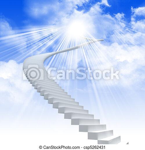 udvide, stige, hvid himmel, klar - csp5262431