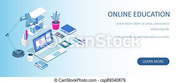 undervisning, banner., home., væv, lejlighed, isometric, vektor, afstand, books., kurser, e-learning, laptop, concept., illustration., online, eller, tutorials, komposition, lærdom - csp89340879