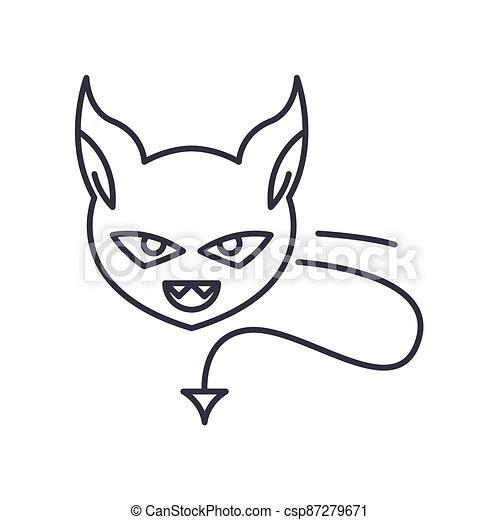 vektor, baggrund., tegn, begreb, hvid, udkast, ikon, editable, illustration, isoleret, onde, væv formgiv, beklæde, lineære, tynd, symbol, den agterste roer - csp87279671