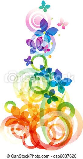 vektor, blomster, baggrund - csp6037620