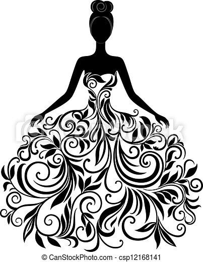 vektor, klæde, kvinde, silhuet, unge - csp12168141