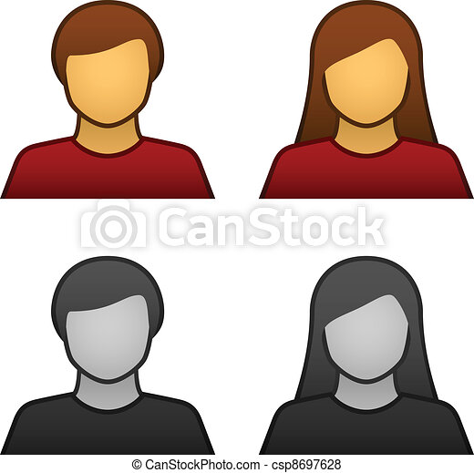 vektor, mandlig, avatar, kvindelig, iconerne - csp8697628