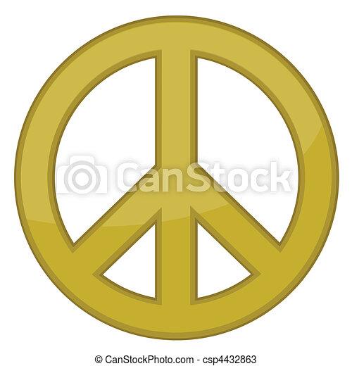 vektor, tegn, fred, guld, / - csp4432863
