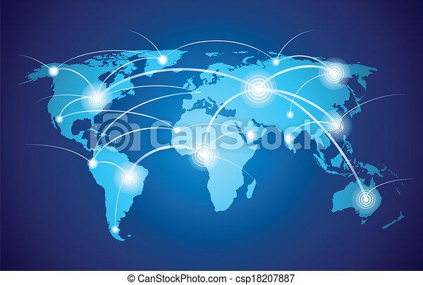 verden, globalt netværk, kort - csp18207887