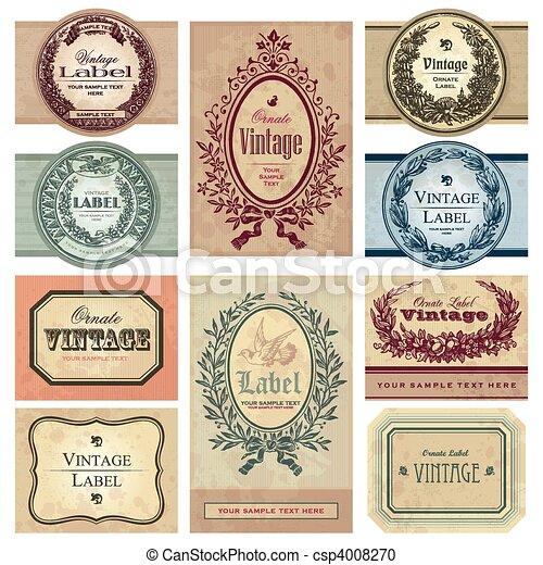 vinhøst, etiketter, sæt, (vector) - csp4008270