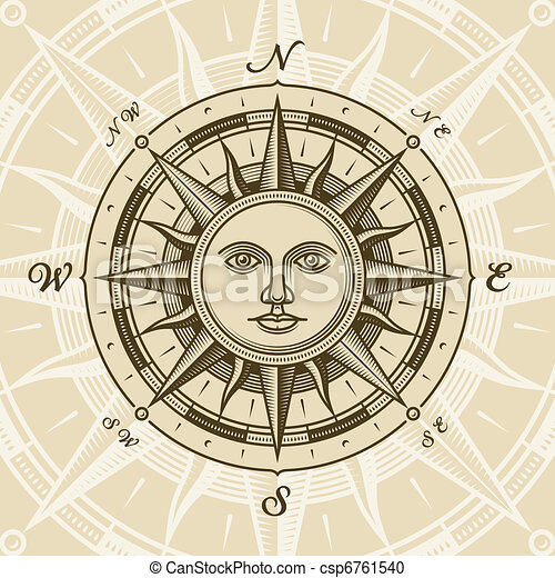 vinhøst, sol, rose, kompas - csp6761540