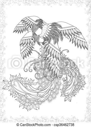 voksen, coloring, fugle, side - csp36462738
