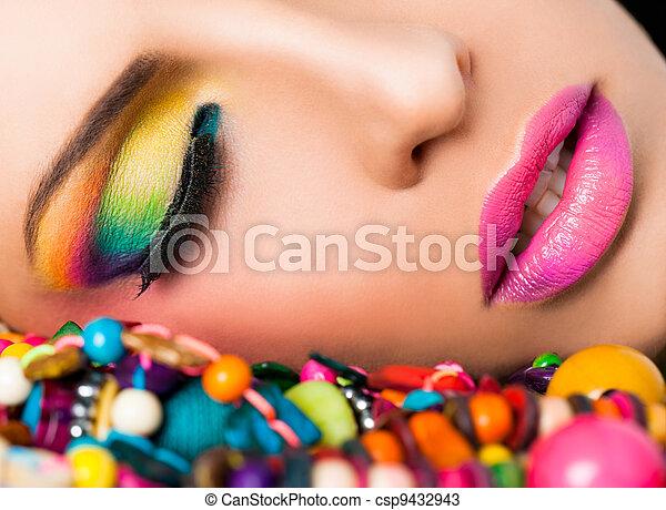 zeseed, læber, kvinde, colourful, war paint - csp9432943